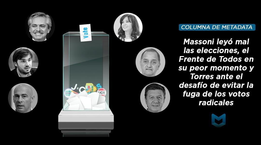 Massoni leyó mal las elecciones, el Frente de Todos en su peor momento y Torres ante el desafío de evitar la fuga de los votos radicales
