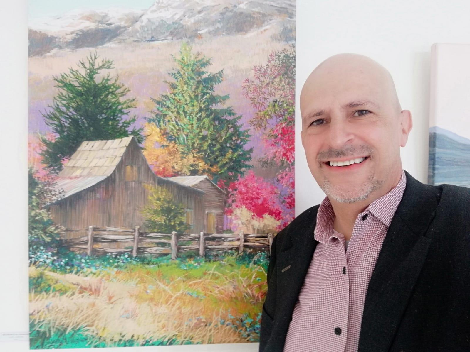 Pablo González Medrano expone más de 15 óleos que retratan diferentes rincones de Chubut