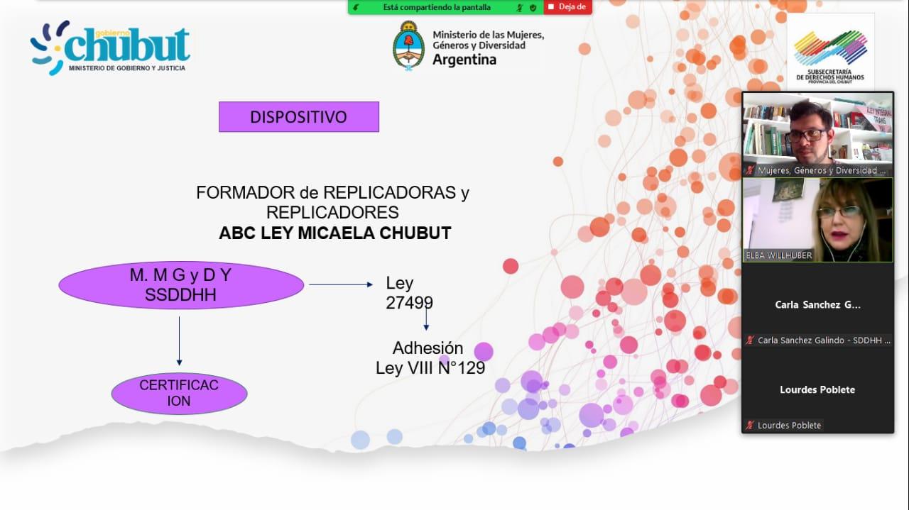 Chubut ya cuenta con 18 replicadores que capacitarán en materia de la Ley Micaela a organismos del Estado y asociaciones gremiales